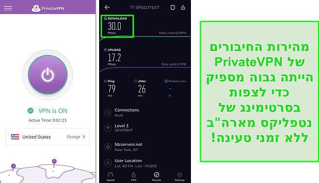 צילום מסך של PrivateVPN המחובר לשרת בארה