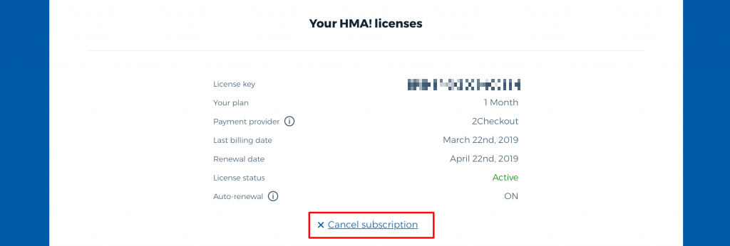 HMA cancel subscription