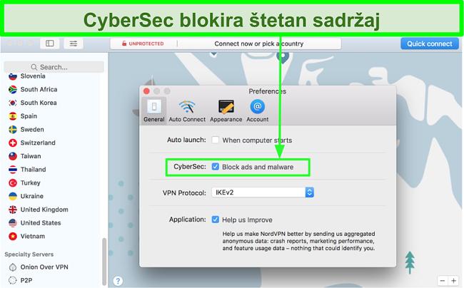Snimka zaslona prikazuje CyberSec značajku blokiranja oglasa i zlonamjernog softvera angažirane NordVPN