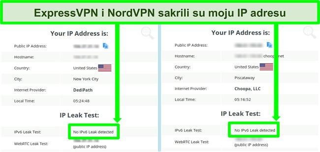 Snimka zaslona koja pokazuje da nije otkriveno curenje IPv6 za NordVPN i ExpressVPN