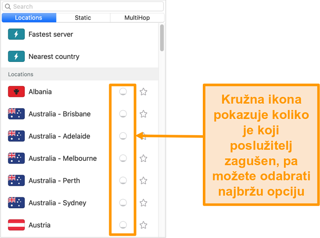 Snimka zaslona popisa poslužitelja Surfsharka koji prikazuje opterećenje poslužitelja