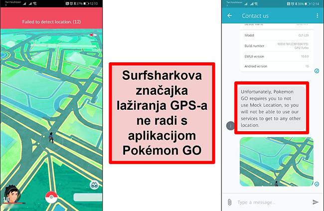 Snimke zaslona Surfshark službe za korisnike koji potvrđuju da Pokémon Go ne radi s GPS podvaljivanjem, dok zaslon zaslona Pokémon Go pokazuje da ne može otkriti trenutačno mjesto
