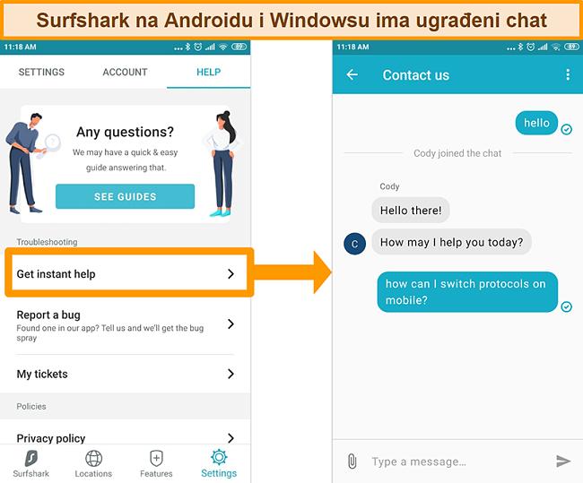 Snimka zaslona ugrađene značajke chata Surfshark u aplikaciji Android