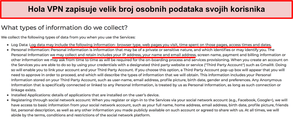 Snimka zaslona Hola VPN pravila o privatnosti koja prikazuje IP adresu