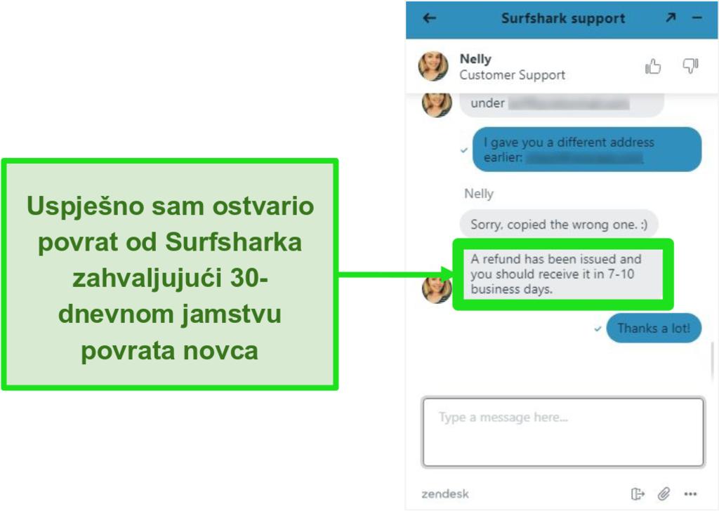 Snimka zaslona Surfshark live chata i zahtjeva za povrat novca