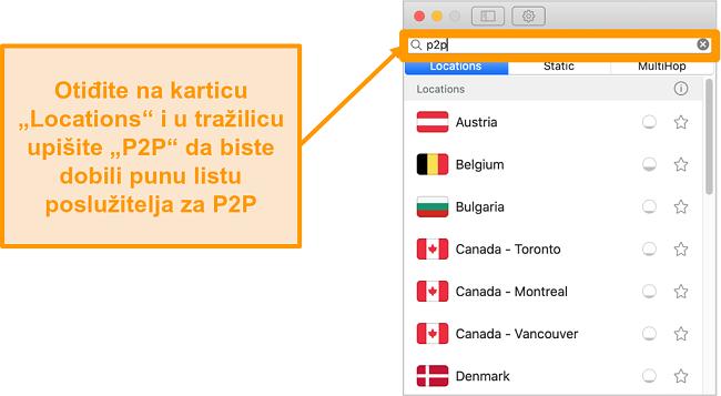Snimka zaslona Surfsharkovih P2P poslužitelja u aplikaciji Mac