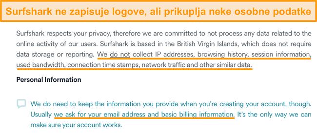 Snimka zaslona politike privatnosti tvrtke Surfshark