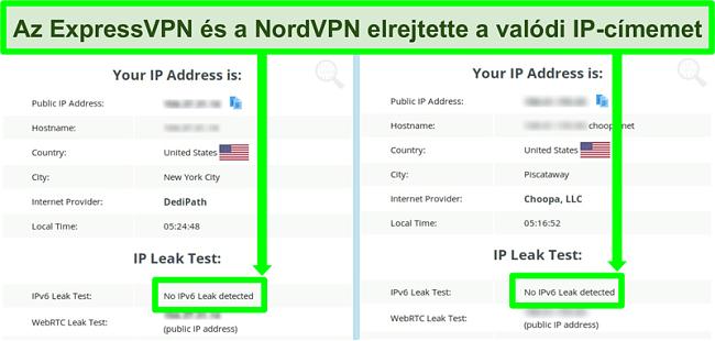 Képernyőkép, amelyen nem észleltek IPv6-szivárgást mind a NordVPN, mind az ExpressVPN esetében