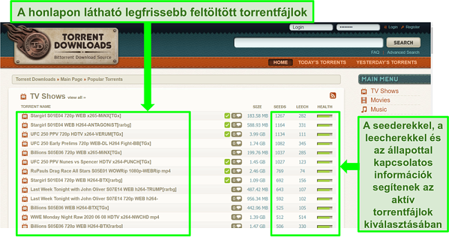 Pillanatkép a TorrentDownloads céloldalról
