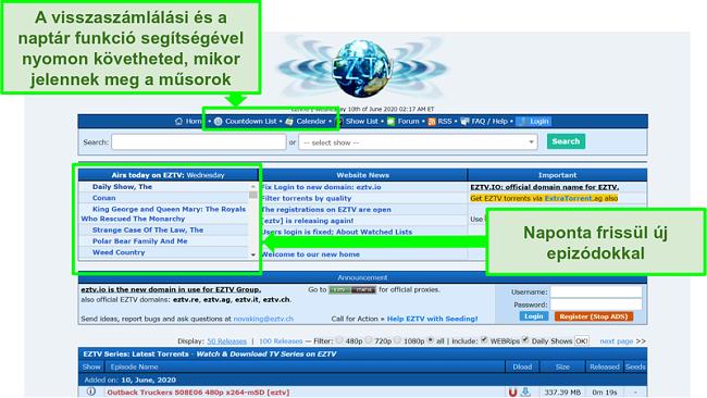 Az EZTV céloldalának képernyőképe
