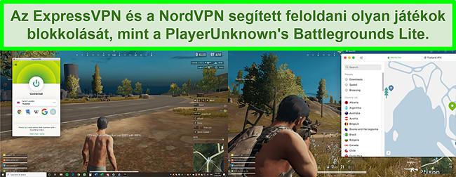 A PlayUnknown Battlegrounds Lite játékát játszó felhasználó összehasonlító képernyőképei az ExpressVPN-hez és a NordVPN-hez csatlakozva