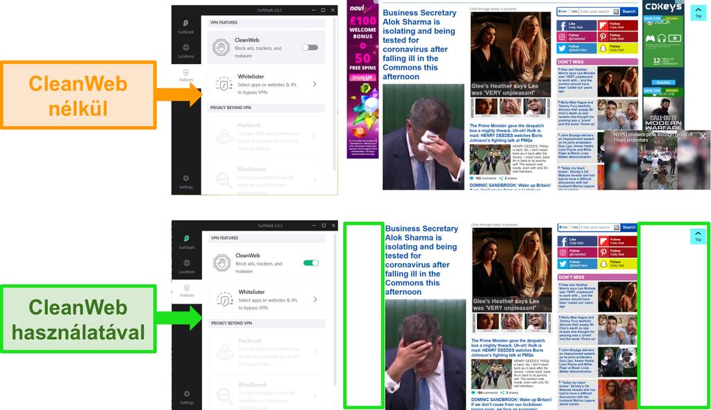 A Daily Mail webhelyének képernyőképei a Surfshark CleanWeb szolgáltatásával blokkolják az összes hirdetést