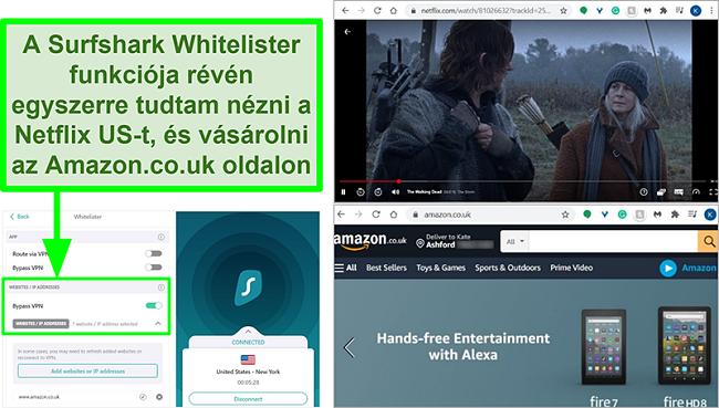 Pillanatképek arról, hogy a Netflix US és az Amazon UK egyidejűleg kerül felhasználásra a Surfshark Whitelister szolgáltatásának köszönhetően