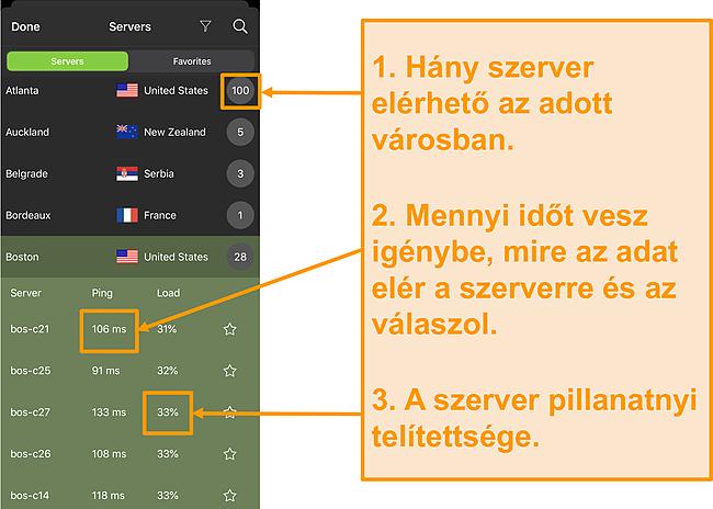 Képernyőkép az IPVanish szerverlistáról, kiemelve a kiszolgáló számát, a pinget és a szerver terhelését