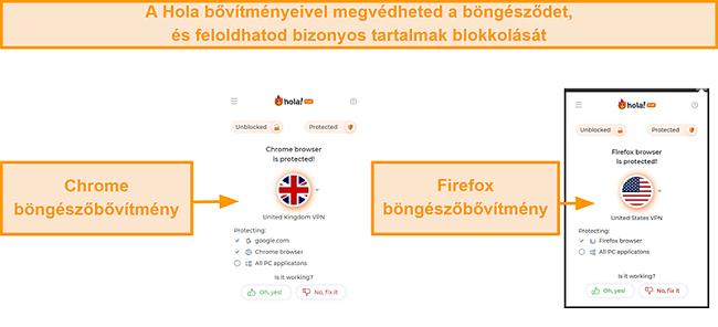 Pillanatkép a Hola VPN Chrome és Firefox böngészőbővítményeiről
