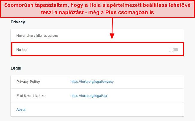Pillanatkép a Hola VPN naplók nélküli beállításáról