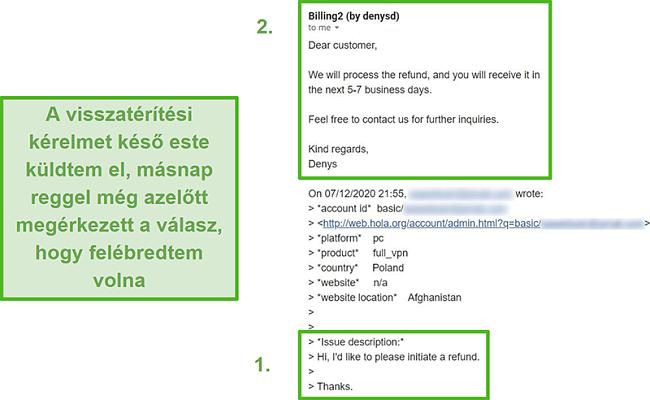 Pillanatkép a Hola VPN e-mailjéről, amely megerősíti a visszatérítést az eredeti kéréstől számított 10 órán belül