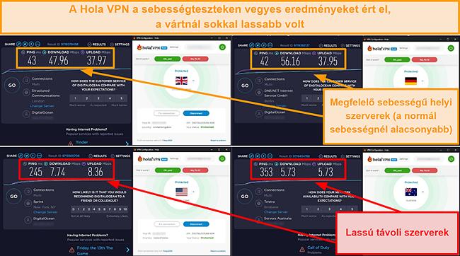 Képernyőkép a Hola VPN sebességtesztjeiről az Egyesült Királyságból (47 Mbps), Németországból (56 Mbps), az Egyesült Államokból (7 Mbps) és Ausztráliából (5 Mbps)