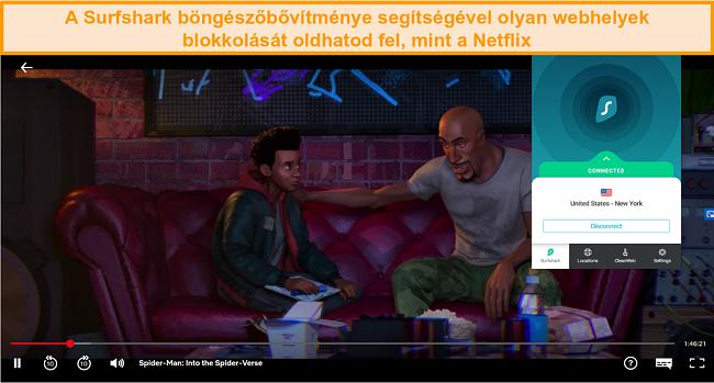 Pillanatkép a Surfshark böngészőbővítményéről, amely az Egyesült Államokhoz csatlakozik a Spider-Man játék közben: a Netflix US pókversébe
