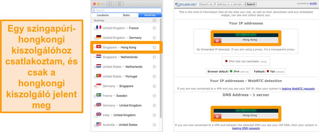 Pillanatkép a Surfshark MultiHop szerveréről (dupla VPN) Szingapúrra és Hongkongra, a szivárgási teszt eredményei mellett csak a hongkongi szerver látható