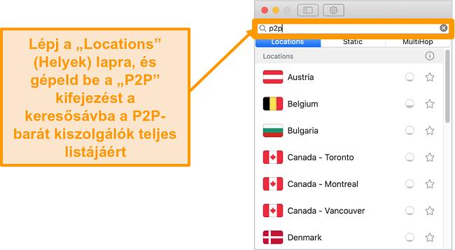 Pillanatkép a Surfshark P2P szervereiről a Mac alkalmazásban