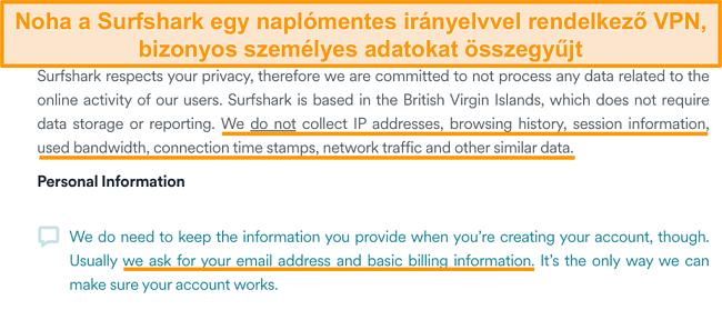 Pillanatkép a Surfshark adatvédelmi irányelveiről