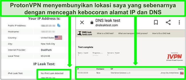 Tangkapan layar dari uji kebocoran DNS dan alamat IP yang menunjukkan tidak ada kebocoran alamat IP saat terhubung ke ProtonVPN