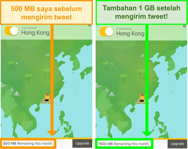 Tangkapan layar TunnelBear memberikan 1GB data ekstra untuk tweet