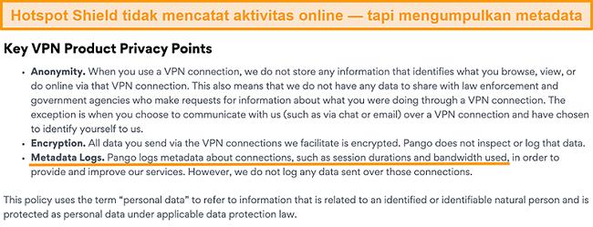 Tangkapan layar kebijakan privasi Hotspot Shields