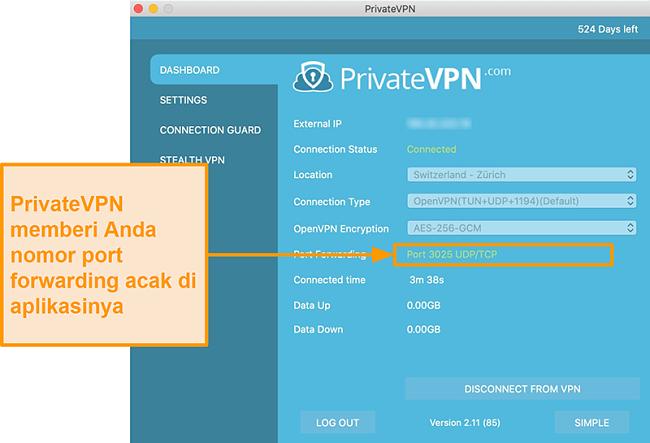 Tangkapan layar PrivateVPN dengan nomor penerusan port yang terlihat di aplikasi Mac