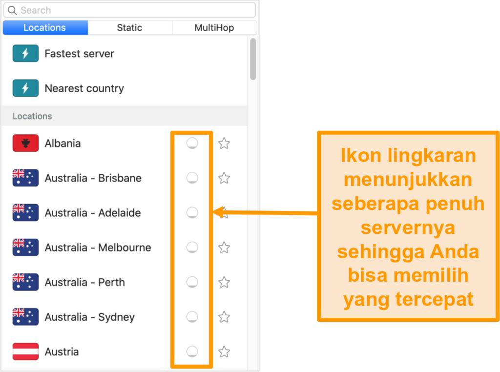 Tangkapan layar dari daftar server Surfshark yang menampilkan beban server