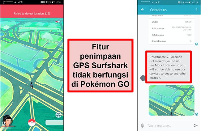 Tangkapan layar dari layanan pelanggan Surfshark yang mengonfirmasi bahwa Pokémon Go tidak berfungsi dengan spoofing GPS, dengan tangkapan layar Pokémon Go yang menunjukkan bahwa Pokémon Go tidak dapat mendeteksi lokasi saat ini