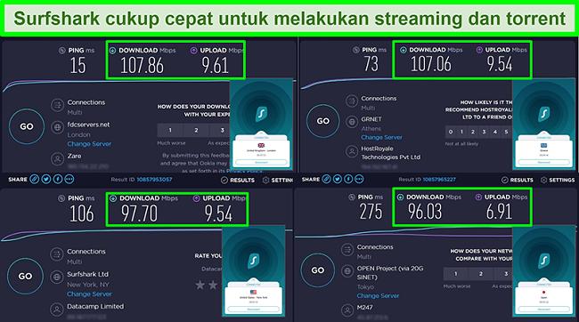 Tangkapan layar dari hasil tes kecepatan Ookla dengan Surfshark terhubung ke server global yang berbeda