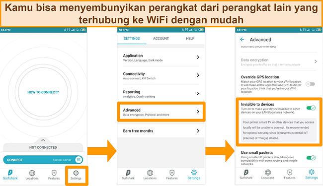 Tangkapan layar fitur Surfshark yang tidak terlihat ke perangkat di aplikasi Android