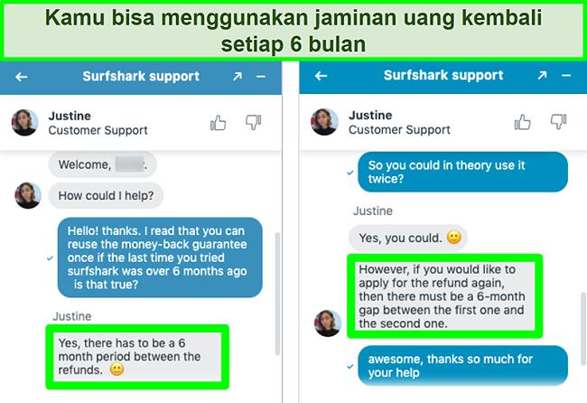Tangkapan layar percakapan layanan pelanggan Surfshark melalui obrolan langsung yang mengonfirmasi penggunaan jaminan uang kembali lebih dari sekali
