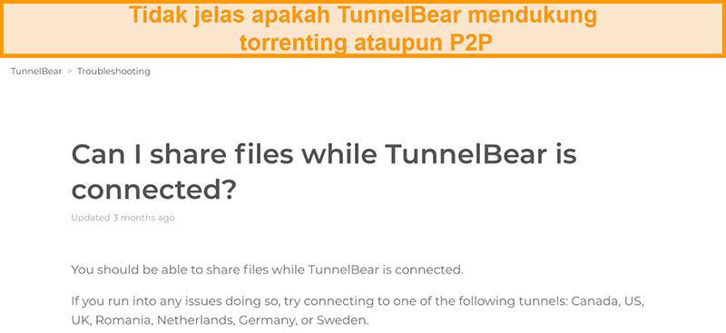Tangkapan layar laman pemecahan masalah TunnelBear tentang berbagi file