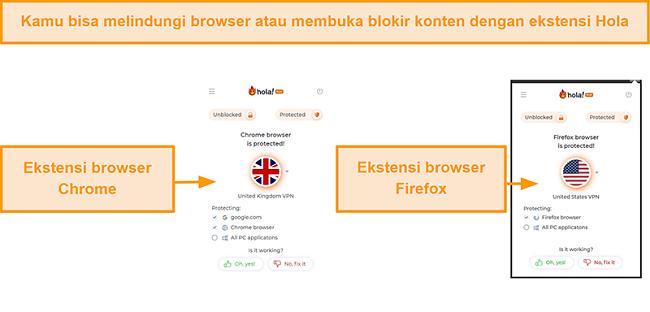Tangkapan layar ekstensi peramban Chrome dan Firefox dari Hola VPN