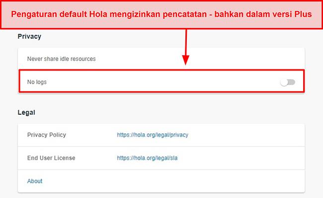 Tangkapan layar dari setelan tanpa pencatatan VPN Hola