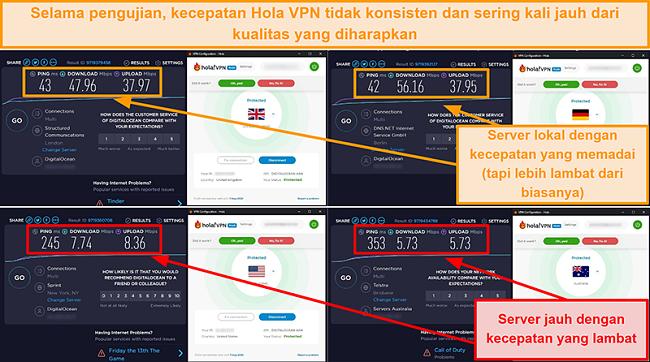 Tangkapan layar tes kecepatan VPN Hola dari Inggris (47 Mbps), Jerman (56 Mbps), AS (7 Mbps), dan Australia (5 Mbps)