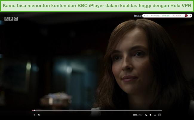 Tangkapan layar dari Hola VPN yang membuka blokir Killing Eve di BBC iPlayer
