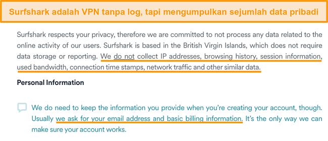 Tangkapan layar dari kebijakan privasi Surfshark