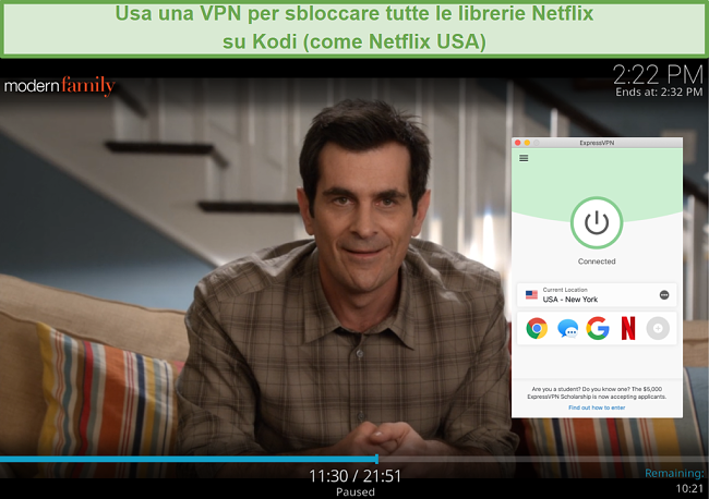 screenshot dello streaming di Modern Family sul componente aggiuntivo Netflix per Kodi