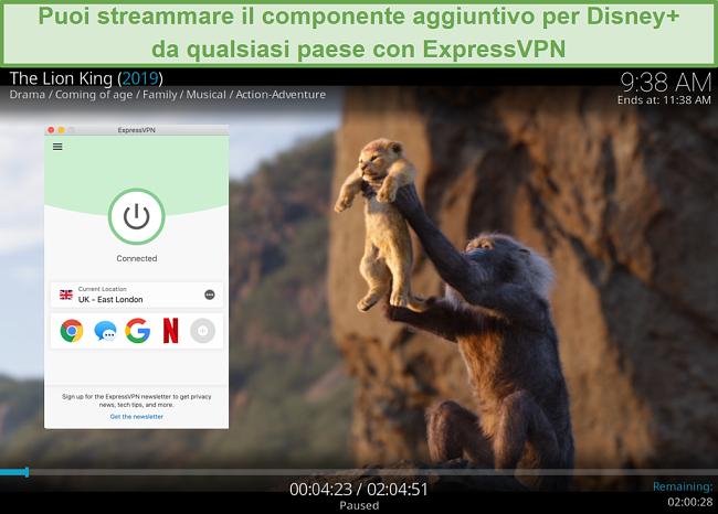 Screenshot dello streaming di Disney Plus su Kodi mentre è connesso a un server ExpressVPN nel Regno Unito