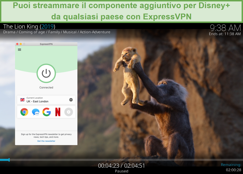 Screenshot dello streaming di Disney Plus su Kodi mentre è connesso a un server ExpressVPN nel Regno Unito
