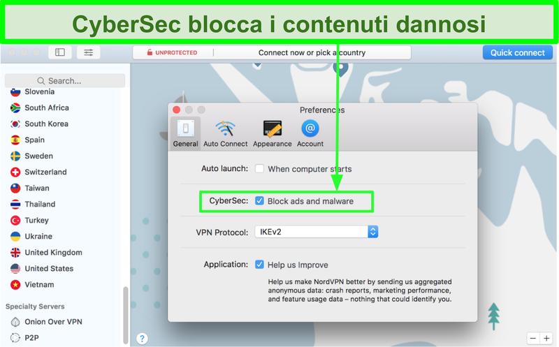 Screenshot che mostra la funzione di blocco degli annunci CyberSec e del malware di NordVPN attiva