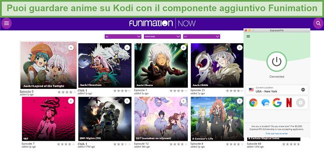 Screenshot del contenuto FunimationNOW disponibile su Kodi