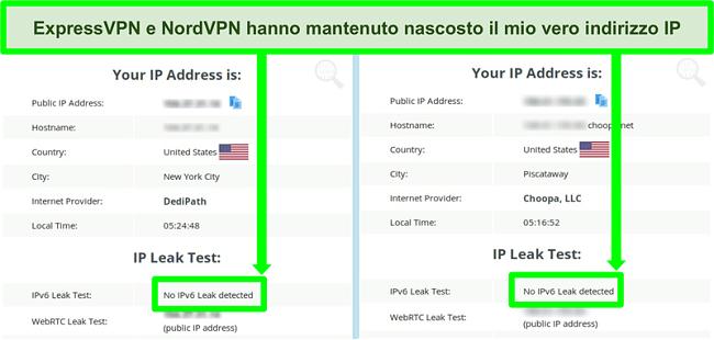 Screenshot che non mostra alcuna perdita IPv6 rilevata sia per NordVPN che per ExpressVPN