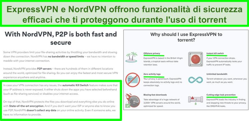 Screenshot dei siti web di NordVPN ed ExpressVPN che mostrano che supportano il torrenting