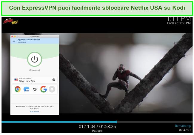 screenshot di Ant man vs Wasp su Netflix US tramite Kodi