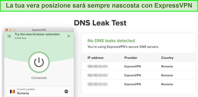 screenshot del test di tenuta DNS riuscito con ExpressVPN per Kodi